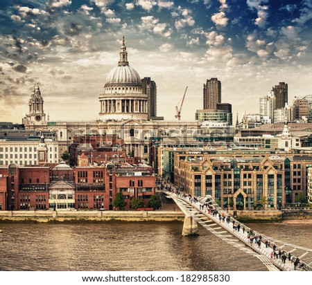 Landmarks of London, UK.