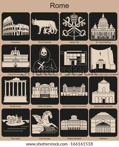 Landmarks of Rome. Set of monochrome icons. Raster illustration. - stock photo