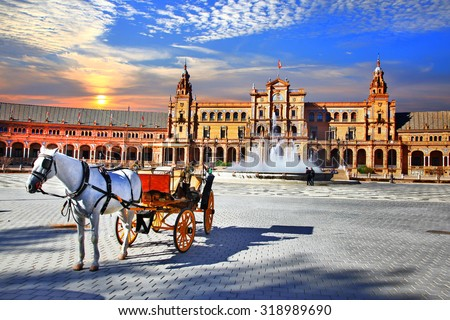 Landmarks of Spain - piazza Espana in Seville, Andalusia - stock photo