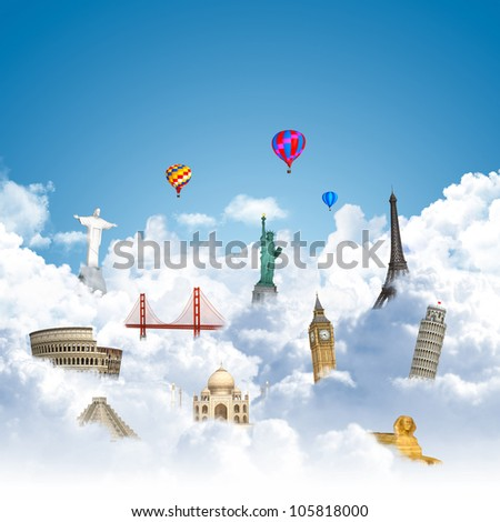 landmarks on the clouds as travel around the world dream concept - stock photo