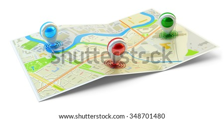 Landmarks positions, location of points of interest, travel destination, GPS and navigation concept, city map with colorful pin pointers isolated on white - stock photo