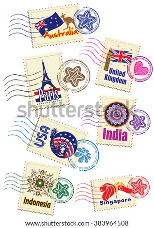Landmarks stamps set - stock photo
