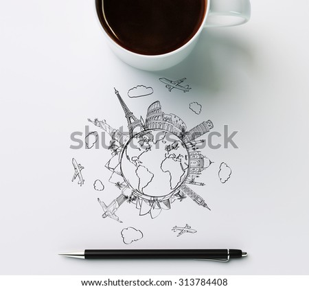 Landmarks with cup of coffee and pen - stock photo