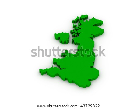 Lands of United Kingdom of Great Britain on white background. High quality 3d render. - stock photo