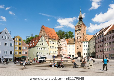 LANDSBERG AM LECH, GERMANY - JUNE 10: People at the market square of Landsberg am Lech, Germany on June 10, 2017. Landsberg is situated on the so called Romantic Road.