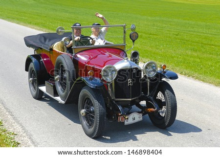 LANDSBERG, GERMANY - JULY 12: Oldtimer rallye for at least 80 years old antique cars with Rochet Schneider Tourer, built at year 1918, photo taken on July 12, 2013 in Landsberg, Germany