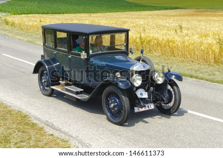 LANDSBERG, GERMANY - JULY 13: Oldtimer rallye for at least 80 years old antique cars with Unic L1 - London, built at year 1924, photo taken on July 13, 2013 in Landsberg, Germany