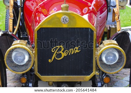LANDSBERG, GERMANY - JULY 12, 2014: Public oldtimer rally in Bavarian city Landsberg for at least 80 years old veteran cars with a front view of Benz 8/20 Stanton, built at year 1913 - stock photo