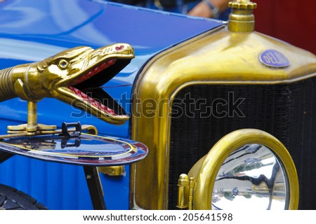 LANDSBERG, GERMANY - JULY 12, 2014: Public oldtimer rally in Bavarian city Landsberg for at least 80 years old veteran cars with a front view of Delage, built at year 1915 - stock photo
