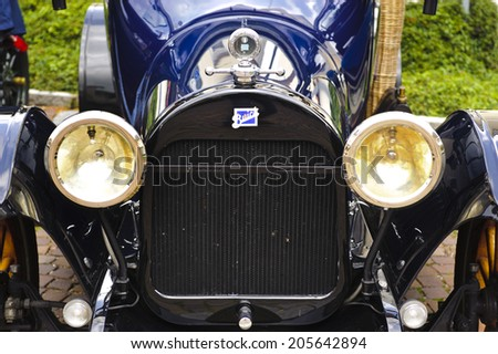 LANDSBERG, GERMANY - JULY 12, 2014: Public oldtimer rally in Bavarian city Landsberg for at least 80 years old veteran cars with a front view of Buick 45 D, built at year 1915 - stock photo