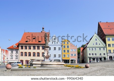 Landsberg upon Lech Head Square - stock photo