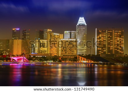 Landscaoe of Singapore business district with blue sky. - stock photo
