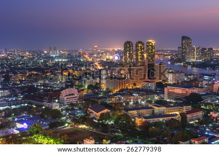 Landscape along the river Charoenkrung Road area in Bangkok, Thailand during the at twilight.