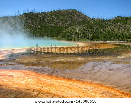 Landscape and Geysers of Yellowstone National Park - USA