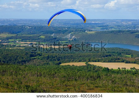 Landscape and paragliders, view from Menez Hom, towards Terenez Bridge, Brittany, France