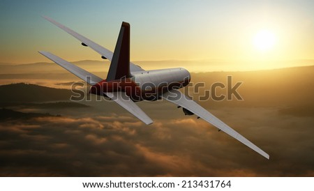 landscape and passenger plane in 3d - stock photo