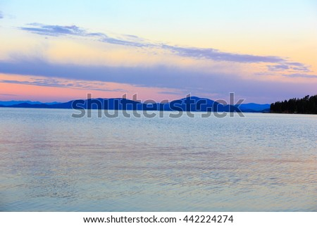 Landscape and sunset over Flathead Lake, Montana. - stock photo