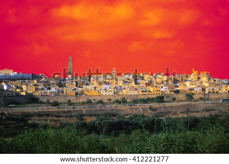 Landscape and the city of Fez in the morning, Morocco