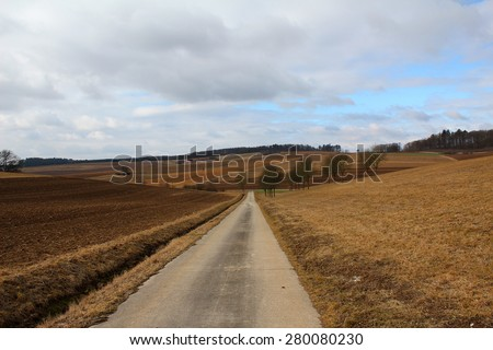 Landscape / Arable land. Direct road among the cleaned fields.