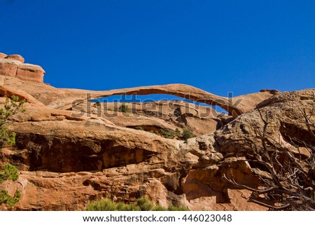 Landscape Arch, Arches National Park, Moab, Utah, America, United States - stock photo