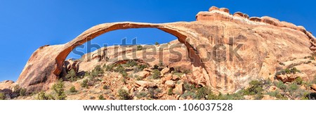 Landscape Arch in Arches National Park. - stock photo