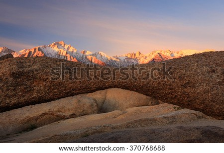 Landscape arch in the Sierra Mountains, California, USA. - stock photo