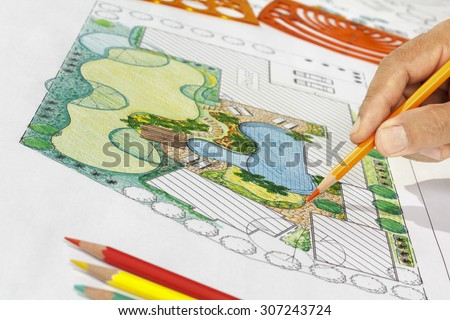 Landscape architect design backyard plan for villa - stock photo