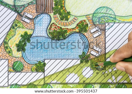 Landscape design stock images royalty free images for Landscape villa design