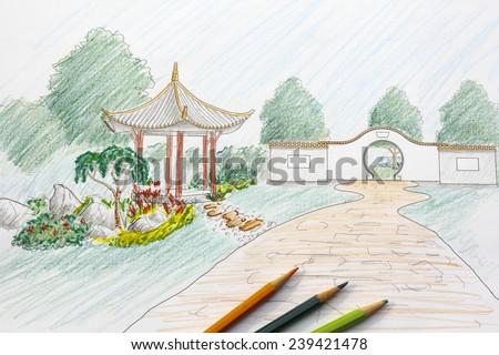 Landscape architect design chinese garden plan - stock photo
