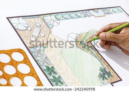 Landscape architect design L shape garden plan - stock photo