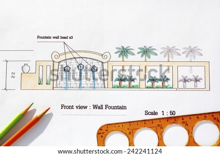 Landscape Architect design Modern wall fountain in asian style. - stock photo