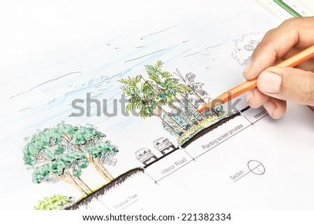 Landscape architect design section plan - stock photo
