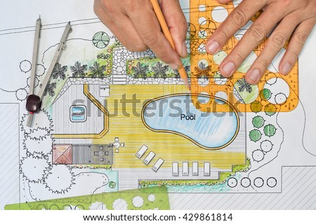 Landscape architect designs backyard plan with Pool for luxury v - stock photo