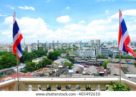 Landscape Architects of Bangkok with Thailand flags from the top of the golden mountain (Wat Sra Ket/Phu Khao Thong), Bangkok, Thailand. - stock photo