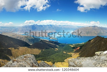 Landscape around Queenstown, New Zealand - stock photo