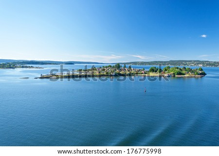 Landscape around the Oslo Fjord on a beautiful sunny summer day - stock photo
