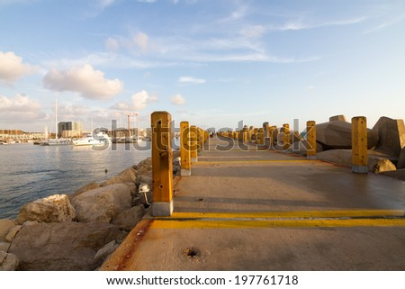 landscape at Hertsliya marine during sunset - stock photo