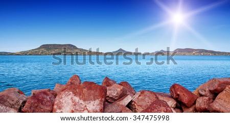 Landscape at Lake Balaton,Hungary - stock photo