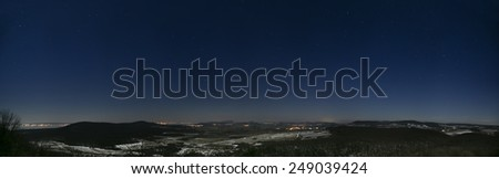 Landscape at lake Balaton with hill, Balaton highland, Hungary.Night panorama photo with stars - stock photo