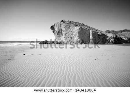 Landscape at Monsul beach, Cabo de Gata national park,Almeria, Andalusia (Spain) - stock photo