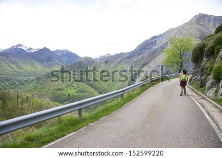 landscape at Picos de Europa mountains in Cangas de Onis Asturias - stock photo
