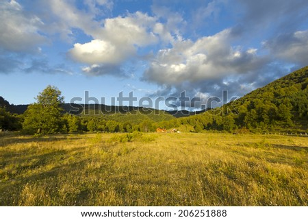 landscape at sunset in Conguillo Park, Chile - stock photo
