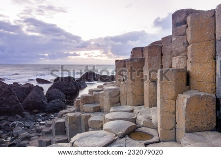 Landscape at The Giant s Causeway in North Antrim, Northern Ireland - stock photo