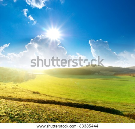Landscape at the sunrise. Beautiful composition. - stock photo