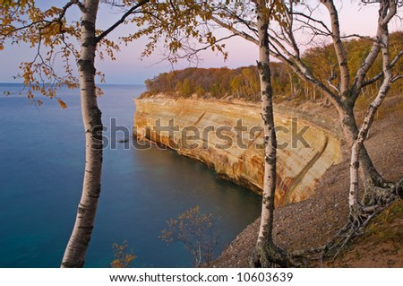 Landscape at twilight of Pictured Rocks National Lakeshore, Lake Superior, Michigan's Upper Peninsula, USA