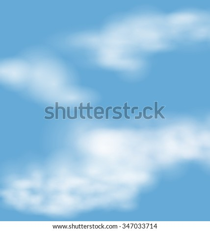 Landscape atmosphere fluffy white clouds blue sky nature background - raster - stock photo