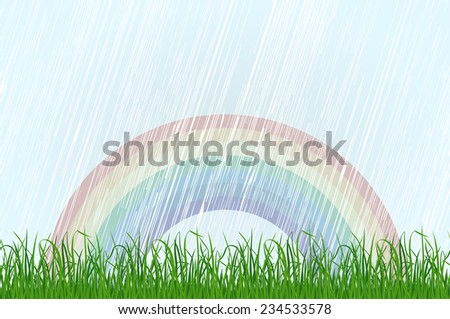 Landscape background with grass and rainbow. Raster version - stock photo