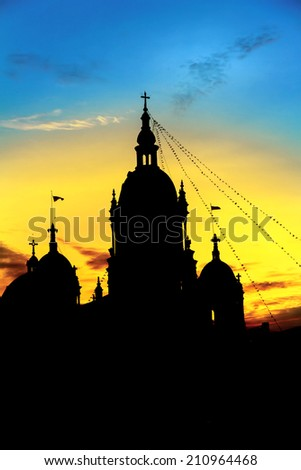 Landscape beautiful. Shadow ancient catholic church in the early morning. - stock photo