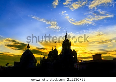 Landscape beautiful. Shadow of old church in the early morning. - stock photo