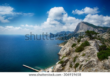 landscape, beautiful view from the top of the mountain to the sea and the bay, Sudak, Novy Svet - stock photo